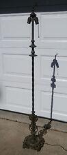 XLNT Antique Vintage Ornate W&E Co. Cast Iron, Brass 2 Socket Floor Lamp