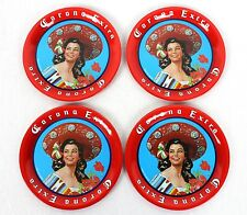 Four (4) genuine Corona drinks coasters kitsch Red great for Mexican Party