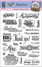 Thank You Sayings Clear Unmounted Rubber Stamp Set 28 Stamps HOTP 1189 New