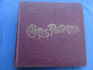 ANTICO ALBUM PER CARTOLINE-ART NOUVEAU-CARTES POSTALES-86 PAGINE-688 POSTI