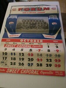 1954/55 Sweet Caporal Montreal Canadiens Calendar - Maurice  Richard Riot Year!