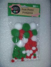 Package of 90 Crafter's Square Pom-Poms / Pompons 90 New Assort. Sizes