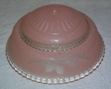 "Vintage Antique Art Deco 3 Hole Pink Glass Ceiling Light Shade - 10"" Wide"