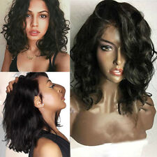 Bob Wavy Lace Front Full Wig Brazilian Human Hair Wigs Medium Short Black Wig