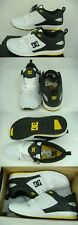 New Mens 12 DC Unilite Trainer White Black Yellow Leather Skate Shoes $85