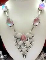 """BEAUTIFUL RAINBOW FIRE TOPAZ HEARTS 925 STERLING SILVER NECKLACE-STAMPED-18"""""""