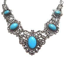 FAUX TURQUOISE HOWLITE BIB NECKLACE silver blue Victorian statement bohemian Y3