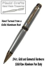 Hand Turned Solid RAW Aluminum Pen Body / Gun Metal & 24ct. Gold Hardware / #21
