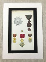 French Medal Group Legion of Honor Military Napoleonic War Ribbon Antique Print