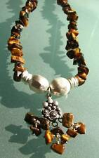 925 Sterling silver 40gr tiger eye & frosted silver necklace.