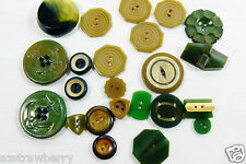 VTG Mix Lot of 23 assorted color green size Rare all bakelite carved buttons