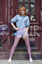 Womens Jeans Trousers Purple Short M Violet 80s Short 80er Pants 90er True Vinta.