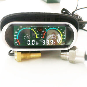 12V 24V Auto Truck LCD Digital Water Temperature Oil Pressure Gauge With Sensor