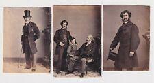 3x James William Richard & Lester Wallack Actors 1860s Mathew Brady Cdv Photos