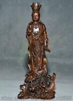 8,6 pouces vieux chinois buis sculpture Feng Shui Guanyin Guanyin dragon statue