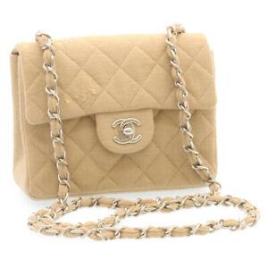 CHANEL Mini Matelasse Chain Flap Shoulder Bag Canvas Beige Silver CC Auth 24584