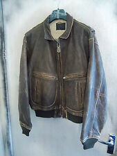VINTAGE AVIREX US NAVY ISSUE G-2 DISTRESSED LEATHER FLYING JACKET SIZE 46