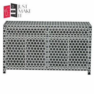 Bone Inlay Wooden Honeycomb 2 Drawer & 4 Door Sideboard Black (MADE TO ORDER)