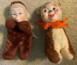 2 - Vintage 1950's  Rubber Face Teddy Bears - Knickerbocker