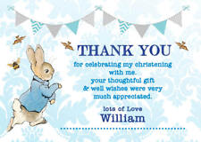 Personalised Thank you cards peter rabbit Christening Boy envelopes