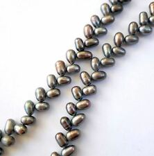 "6"" Genuine fresh water Pearl beads,silver grey Pearls"