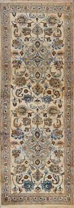 Vintage FLORAL Traditional Oriental Runner Rug Wool Hand-knotted Ivory 3x8 ft