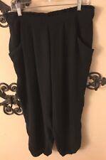 XL Eileen Fisher 100% Silk Black Pants with Elastic Waist