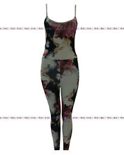 WOMENS LADIES FLORAL SLEEVELESS STRAP ALL IN ONE JUMPSUIT CATSUIT DRESS 8-14