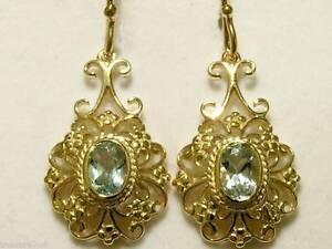E016 - Gorgeous 9ct Solid Gold Natural AQUAMARINE Earrings Filigree Drop Dangle
