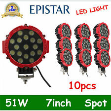 10X 7'' 51w EPISTAR LED light DRIVING 4X4 SPOT BEAM offroad TRUCK ROUND RED DEAL
