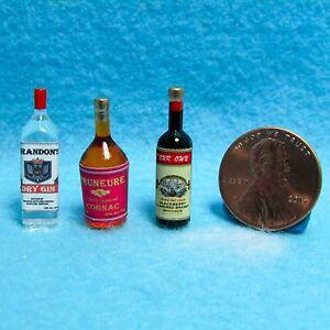 Dollhouse Miniature Liquor Set ~ Balckberry Brandy, Cognac & Dry Gin  HR53978