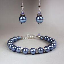 Cornflower blue lilac pearls earrings chunky bracelet wedding bridal silver set