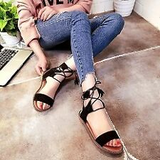 Khoee A158 Flat Lace Up Leg Strappy Gladiator Fashion Sandals (black) SIZE 39