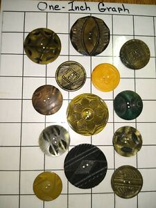 Beautiful Vintage Lot Of Carved Celluloid Wafer Buttons