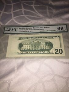 1996 Federal Reserve Note Boston Fr#2083-A (AAI Block) Withrow/Rubin Insufficien