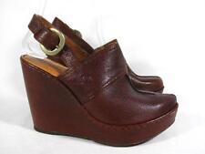 Born Slingback Platform Wedge Mule Women size 7 Brown Leather