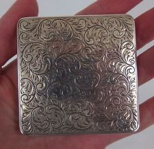 antique sterling solid silver 925 powder box case W mirror