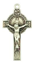 "Jesus Christ on Cross Sterling Silver 1 5/8"" Miraculous Medal Crucifix Pendant"