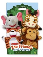 4 Pc Melissa & Doug Zoo Friends Hand Puppets Elephant Giraffe Tiger Monkey