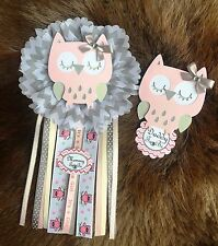Owl baby shower corsage/ Mon to be corsage/ Owl theme/ Baby shower corsage
