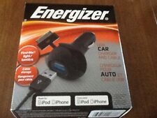 NEW Energizer PC-1CACAP Car USB Charger and Apple Charging Cable Black