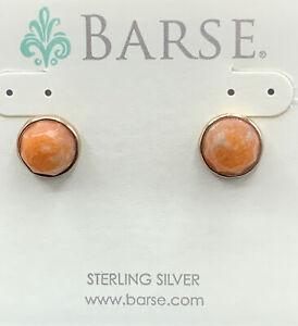 Barse Naranja Cabochon Earrings- Agate & Bronze- SS Posts- NWT