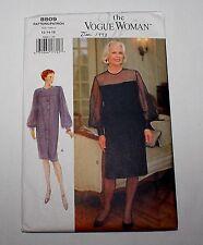Vogue Woman 8809 Misses & Petite 12-14-16 Long Sleeve Dress Pattern Easy Uncut