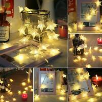 LED Star String Fairy Lights Battery Powered For Wedding Home Garden Party Decor
