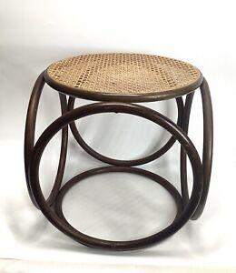 "Vintage 1970's Bent Wood Wicker Side Table Rattan Wood 16"" tall brown beige"