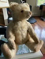 "Old German 1920s-40s White/Blonde Teddy Bear 17"" With Growler (Steiff?)"