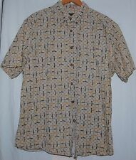 Vintage Woolrich Mens Button Down Shirt L Fish Tan Olive Gold SS Cream Checkered
