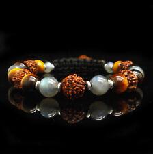 Bracelet Labradorite Oeil de Tigre Rudraksha Protection Femme Homme Litho