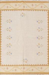Ivory Geometric Oriental Kilim Area Rug Wool Flatweave Modern Carpet 6x8 ft New