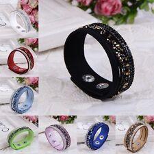 Fashion Crystal Rhinestone Leather Wrap Wristband Cuff Punk Bracelet Bangle